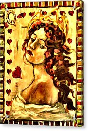 Queen Of Hearts Acrylic Print by Carrie Joy Byrnes