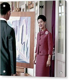 Queen Sirikit Of Thailand Looking At A Painting Acrylic Print