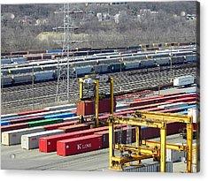 Acrylic Print featuring the photograph Queensgate Yard Cincinnati Ohio by Kathy Barney