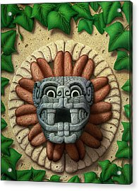 Acrylic Print featuring the painting Quetzalcoatl by WB Johnston