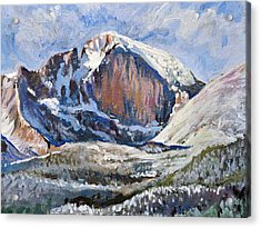 Quick Sketch - Longs Peak Acrylic Print by Aaron Spong