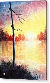 Quiet Evening By The River Acrylic Print by Nirdesha Munasinghe