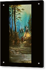 Quiet Forest With Tepees Blank Acrylic Print