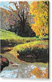 Acrylic Print featuring the painting Quiet Stream Maryland Landscape Fall Colors Sketch by G Linsenmayer