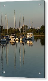 Quiet Summer Afternoon - Sailboats And Downtown Skyline Acrylic Print by Georgia Mizuleva