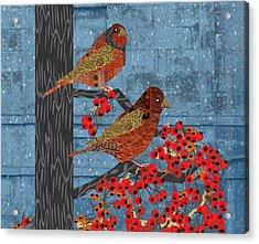 Sage Brush Sparrow In Rain Acrylic Print