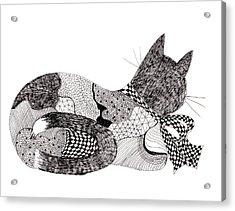 Quilt Cat With Bow Acrylic Print by Lou Belcher