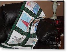 Quilt Newfoundland Tartan Green Posts Acrylic Print by Barbara Griffin