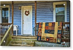 Quilt On The Front Porch Acrylic Print by Kathy Jennings