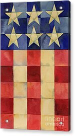 Quilted Flag Vertical Acrylic Print by Paul Brent