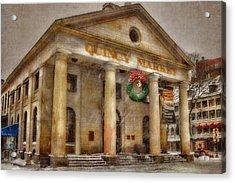 Quincy Market Snow 2 Acrylic Print by Joann Vitali