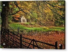 Quintessential Rustic Shack- A New England Autumn Scenic Acrylic Print by Thomas Schoeller