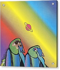 Acrylic Print featuring the mixed media Quirky Birds by Douglas Fromm
