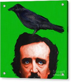 Quoth The Raven Nevermore - Edgar Allan Poe - Painterly - Green - Square Acrylic Print