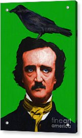 Quoth The Raven Nevermore - Edgar Allan Poe - Painterly - Green - Standard Size Acrylic Print by Wingsdomain Art and Photography
