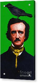 Quoth The Raven Nevermore - Edgar Allan Poe - Painterly - Green Acrylic Print by Wingsdomain Art and Photography