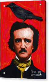 Quoth The Raven Nevermore - Edgar Allan Poe - Painterly - Red - Standard Size Acrylic Print by Wingsdomain Art and Photography