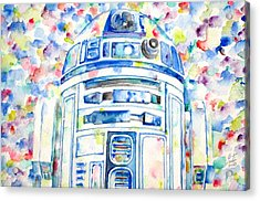 R2-d2 Watercolor Portrait.1 Acrylic Print