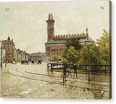 Raadhuspladsen, Copenhagen, 1893 Oil On Canvas Acrylic Print by Paul Fischer