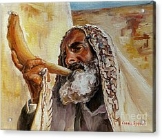 Rabbi Blowing Shofar Acrylic Print