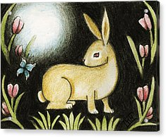 Acrylic Print featuring the mixed media Rabbit And The Butterfly . . . From The Tapestry Series by Terry Webb Harshman