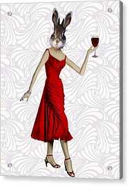 Rabbit In A Red Dress Acrylic Print by Kelly McLaughlan