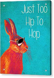 Rabbit Too Hip To Hop Blue Acrylic Print by Kelly McLaughlan