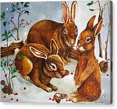 Rabbits In Snow Acrylic Print by Enzie Shahmiri