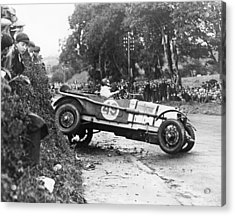 Race Car Driver Skids Acrylic Print by Underwood Archives