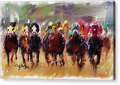 Race To The Finish Line Acrylic Print by Ted Azriel