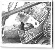 Racecar Driver Pencil Portrait  Acrylic Print by Mike Theuer