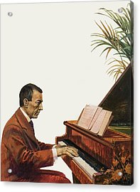 Rachmaninoff Playing The Piano Acrylic Print by Andrew Howat