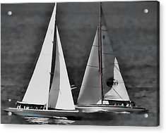 Acrylic Print featuring the photograph Racing At Sea by Pamela Blizzard
