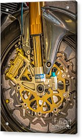 Racing Bike Wheel With Brembo Brakes And Ohlins Shock Absorbers Acrylic Print by Ian Monk