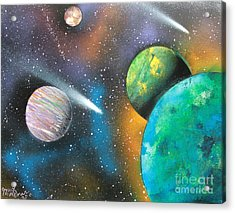 Acrylic Print featuring the painting Racing Comets by Greg Moores