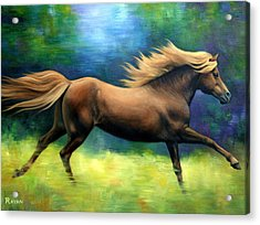 Racing  The Wind Acrylic Print by Vivien Rhyan