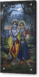 Radha And Krishna On Full Moon Acrylic Print
