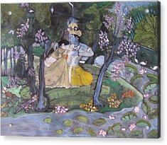 Acrylic Print featuring the painting Radha And Krishna by Vikram Singh