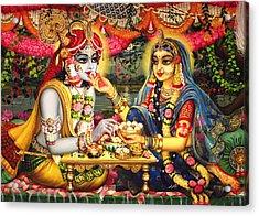 Radha Krishna Bhojan Lila On Yamuna Acrylic Print
