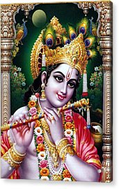 Radha Krishna Idol Hinduism Religion Religious Spiritual Yoga Meditation Deco Navinjoshi  Rights Man Acrylic Print by Navin Joshi
