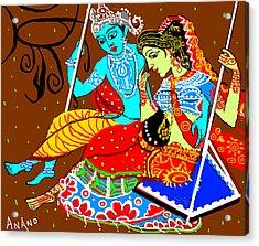 Radha Krishna On A Swing-13 Acrylic Print by Anand Swaroop Manchiraju