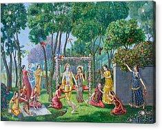 Radha Krishna On The Swing Acrylic Print by Dominique Amendola