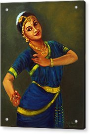 Radha Playing Krishna Acrylic Print
