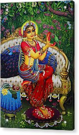 Radha With Parrot Acrylic Print by Vrindavan Das