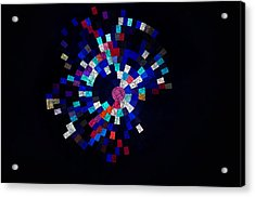 Radial Mosaic In Red White And Blue Acrylic Print