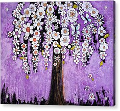 Radiant Orchid Flower Tree Acrylic Print by Blenda Studio