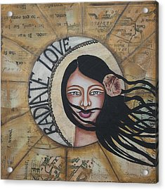 Radiate Love Inspirational Mixed Media Folk Art Acrylic Print