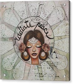 Radiate Peace Inspirational Mixed Media Folk Art  Acrylic Print by Stanka Vukelic