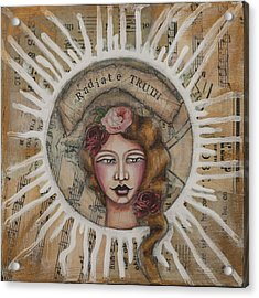 Radiate Truth Inspirational Folk Art Acrylic Print by Stanka Vukelic