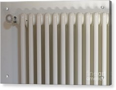 Radiator On White Wall Acrylic Print by Sami Sarkis